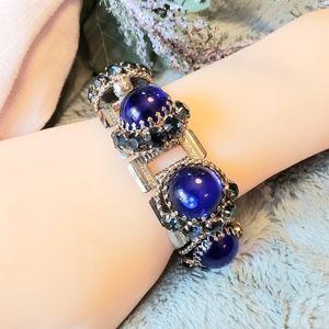 1950's Bookchain Blue Cabochon Glass Bracelet